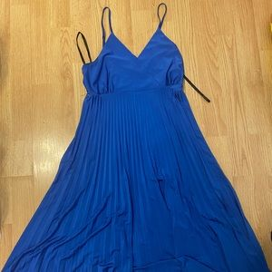 Blue dress with pleated bottom/skirt